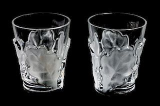 * A Pair of Lalique Molded and Frosted Glass Tumblers Height 4 3/4 inches.