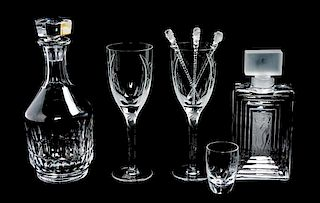 * A Group of Lalique Molded and Frosted Glassware Height of tallest 9 3/4 inches.
