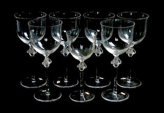 * A Group of Lalique Molded and Frosted Stemware Height of tallest 8 inches.
