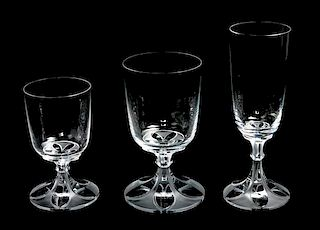 * A Group of Lalique Molded and Frosted Stemware Height of tallest 7 3/8 inches.