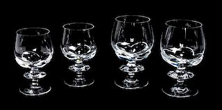 * A Group of Lalique Molded and Frosted Stemware Height of taller 6 1/8 inches.