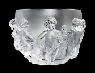 * A Lalique Molded and Frosted Glass Center Bowl Diameter 10 1/2 inches.