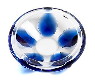 * A Lalique Molded Glass Ash Receiver Diameter 6 3/4 inches.