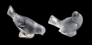 * Two Lalique Molded and Frosted Glass Figures Height of taller 3 3/4 inches.