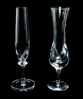 * Two Daum Glass Vases Height of taller 12 1/2 inches.