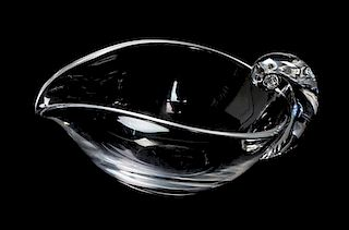 * A Steuben Glass Dish Height 3 1/4 x width 6 3/4 inches.