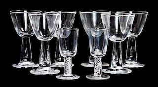 A Group of Steuben Glass Stemware Height of taller 4 3/4 inches.