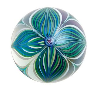 An Art Glass Paperweight Height 2 x diameter 3 inches.