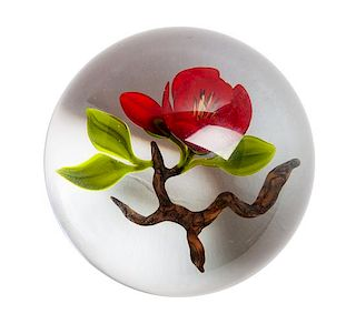 An Art Glass Paperweight Height 2 1/2 x diameter 3 inches.