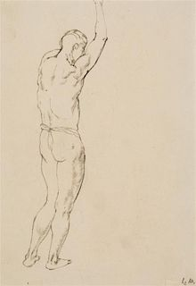 George Grosz, (German-American, 1893-1959), Standing Nude, 1912; Nude (verso)
