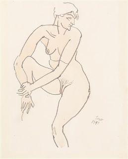 George Grosz, (German-American, 1893-1959), Standing Nude, 1918
