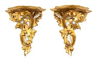 A Pair of Italian Rococo Style Carved and Gilt Painted Wall Brackets Height 9 3/4 inches.