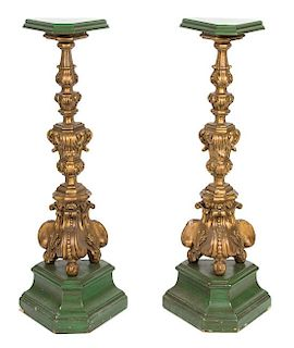A Pair of Italian Rococo Style Painted and Parcel Gilt Torchere Stands Height 48 1/2 inches.