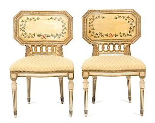 A Pair of Italian Directoire Style Painted and Parcel Gilt Side Chairs Height 33 1/2 inches.
