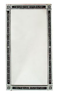 A Venetian Style Etched Glass Framed Mirror Height 55 1/2 x width 35 1/2 inches.