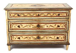 A Venetian Style Painted Chest of Three Drawers Height 36 1/4 x width 52 1/2 x depth 24 inches.