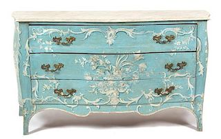 An Italian Painted Bombe Commode Height 33 3/4 x width 60 1/2 x depth 21 inches.