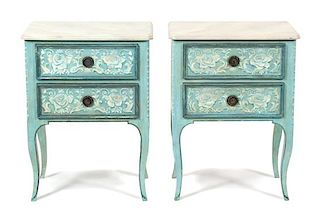A Pair of Italian Painted Bedside Cabinets Height 31 1/2 x width 23 3/4 x depth 15 1/4 inches.