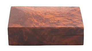 A Burlwood Covered Box Height 2 1/4 x width 7 3/4 x depth 5 inches.