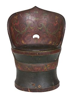 A Norwegian Polychromed Dugout Chair Height 33 1/2 inches.