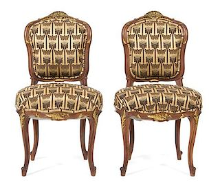 A Pair of Louis XV Style Mahogany Side Chairs Height 34 1/2 inches.
