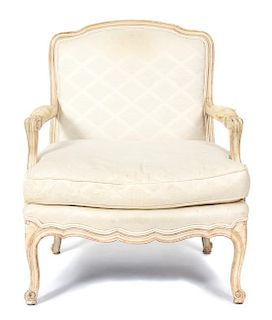 A Louis XV Upholstered Fauteuil Height 34 1/2 inches.