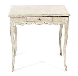 A Louis XV Style Carved and Painted Game Table Height 29 x width 30 x depth 30 inches.