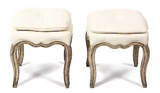 A Pair of Louis XV Style Painted Tabourets Height 18 x 17 inches square.