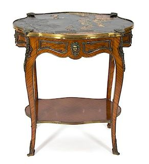 A Louis XV Style Gilt Metal Mounted Kingwood Side Table Height 28 x width 26 x diameter 18 1/2