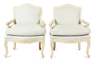 A Pair of Louis XV Style Carved and Painted Fauteuils Height 37 inches.