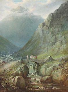 BURRAS, J. Oil on Canvas. Landscape with Figures