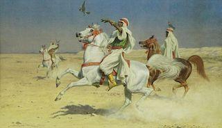 BIRD, Harrington. Watercolor. Arab Falconers on