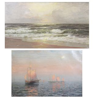 REHN, Frank. Two Oil on Canvas Seascapes.