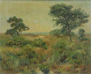 GARRETT, Edmund. Oil on Board. Cape Cod Landscape.