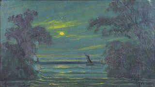 EILSHEMIUS, Louis. Oil on Board. Moonlit Seascape.