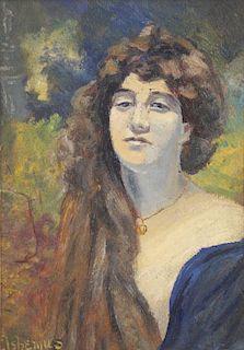 EILSHEMIUS, Louis. Oil on Card. Portrait of a