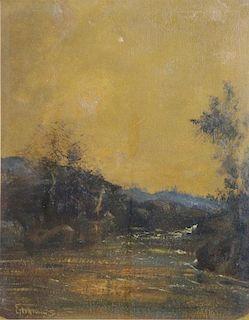 EILSHEMIUS, Louis. Oil on Board. River Landscape.