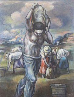 "HARRITON, Abraham. Oil on Canvas. ""Harvest"