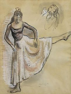 SOYER, Moses. Ink and Chalk on Paper. Dancer