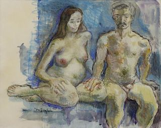 SOYER, Moses. Pastel and Watercolor. Two Nudes.