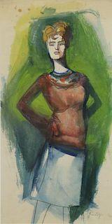 SPRINCHORN, Carl. Watercolor. Standing Woman.
