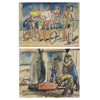 CIKOVSKY, Nicolai. Two (2) Watercolors.