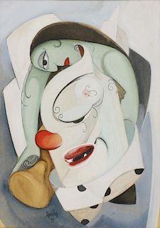 SHERKER, Leon. Watercolor. Cubist Nude, 1949.