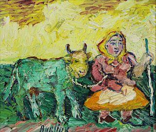 BURLIUK, David. Oil on Board. Peasant Woman with