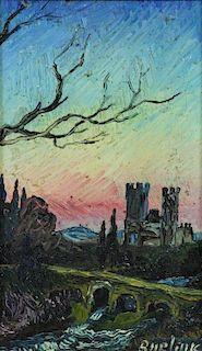 BURLIUK, David. Oil on Board. Castle in Landscape.