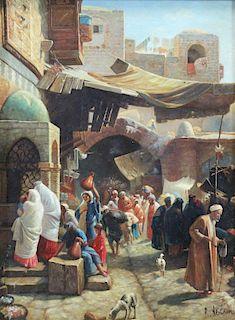 NEILSON, R. Oil on Panel. Orientalist Street Scene