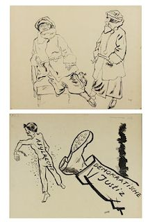 GROSZ, George. Double Sided Ink on Paper Drawing.
