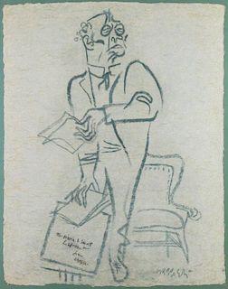 GROPPER, William. Blue Chalk on Paper. Man Holding