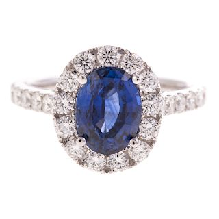 A 3.04ct Blue Sapphire & Diamond Ring in 18K