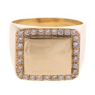 A Gent's 18K Diamond Signet Ring